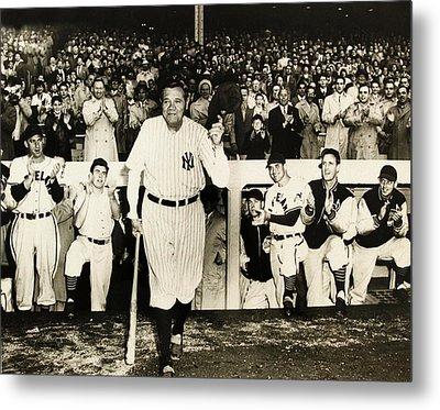Babe Ruth At Yankee Stadium Metal Print by Doc Braham