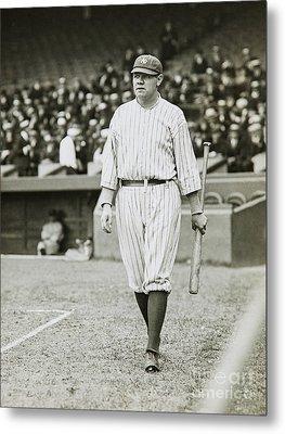 Babe Ruth Going To Bat Metal Print