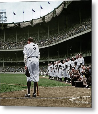 Babe Ruth The Sultan Of Swat Retires At Yankee Stadium Colorized 20170622 Square Metal Print