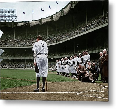 Babe Ruth The Sultan Of Swat Retires At Yankee Stadium Colorized 20170622 Metal Print