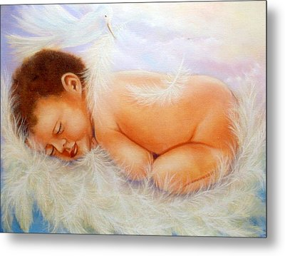 Baby Angel Feathers Metal Print by Joni M McPherson