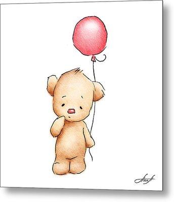 Teddy Bear With Red Balloon Metal Print by Anna Abramska