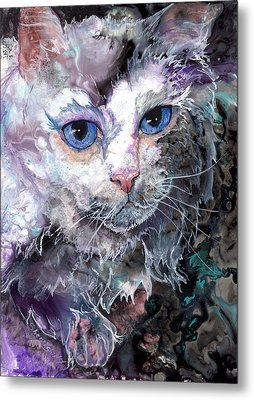 Metal Print featuring the painting Baby Blues by Sherry Shipley