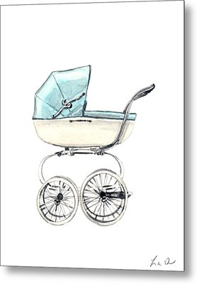 Baby Carriage In Blue - Vintage Pram English Metal Print by Laura Row