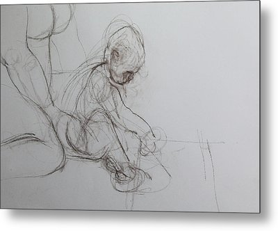 Baby, Drawing With Mother Metal Print