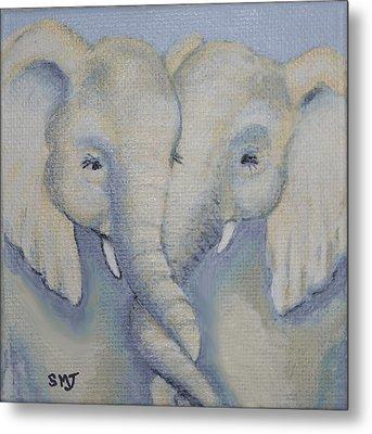 Baby Elephant Friends Metal Print