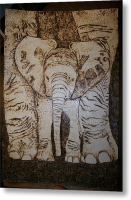 Baby Elephant Pyrographics On Paper Original By Pigatopia Metal Print by Shannon Ivins