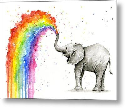 Baby Elephant Spraying Rainbow Metal Print by Olga Shvartsur