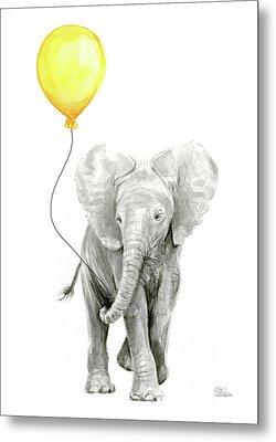 Baby Elephant Watercolor With Yellow Balloon Metal Print