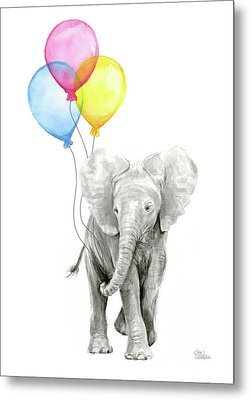 Baby Elephant With Baloons Metal Print