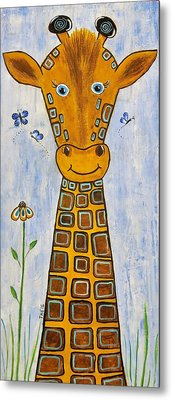 Baby Giraffe Metal Print by Suzanne Theis