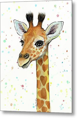 Baby Giraffe Watercolor With Heart Shaped Spots Metal Print by Olga Shvartsur