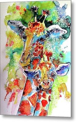 Baby Giraffe With Mammy Metal Print by Kovacs Anna Brigitta