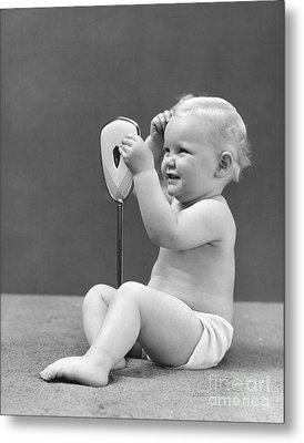 Baby Girl With Hand Mirror, 1940s Metal Print by H. Armstrong Roberts/ClassicStock