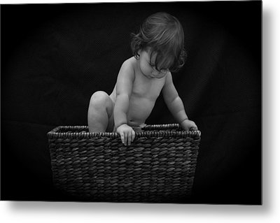 Metal Print featuring the photograph Baby In A Basket by Michael Albright
