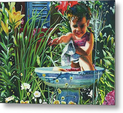 Baby In The Birtbath Metal Print by Maureen Dean