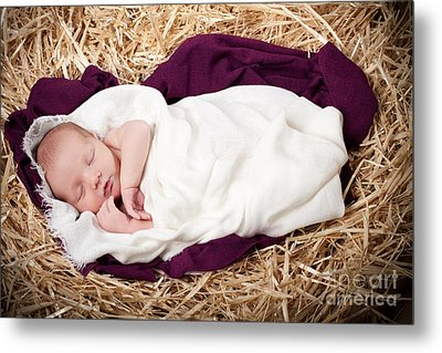 Baby Jesus Nativity Metal Print by Cindy Singleton