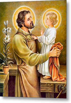 Baby Jesus Talking To Joseph Metal Print by Munir Alawi