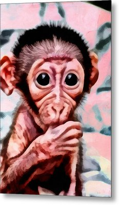 Baby Monkey Realistic Metal Print by Catherine Lott