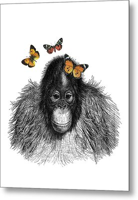 Baby Monkey With Orange Butterflies Metal Print by Madame Memento