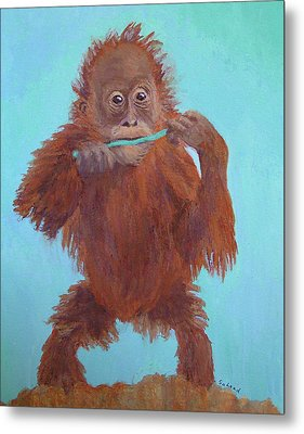 Baby Orangutan Playing Metal Print