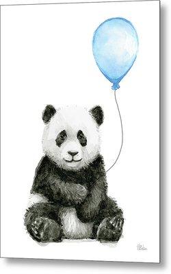 Baby Panda With Blue Balloon Watercolor Metal Print by Olga Shvartsur