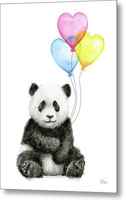 Baby Panda With Heart-shaped Balloons Metal Print by Olga Shvartsur