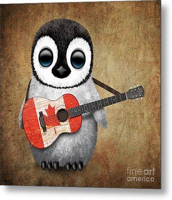 Baby Penguin Playing Canadian Flag Guitar Metal Print