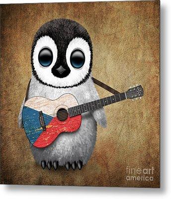 Baby Penguin Playing Czech Flag Guitar Metal Print