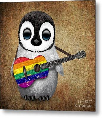 Baby Penguin Playing Gay Pride Rainbow Flag Guitar Metal Print