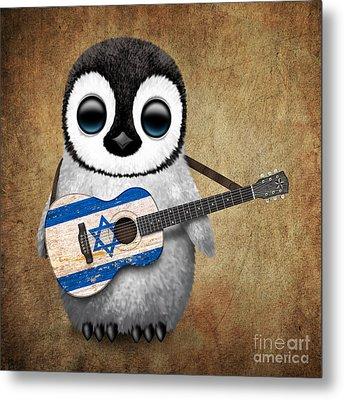 Baby Penguin Playing Israeli Flag Guitar Metal Print