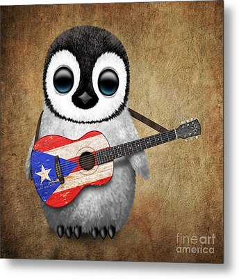 Baby Penguin Playing Puerto Rican Flag Guitar Metal Print
