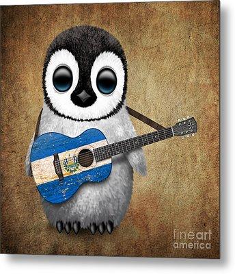 Baby Penguin Playing Salvadorian Flag Guitar Metal Print