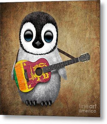 Baby Penguin Playing Sri Lankan Flag Guitar Metal Print