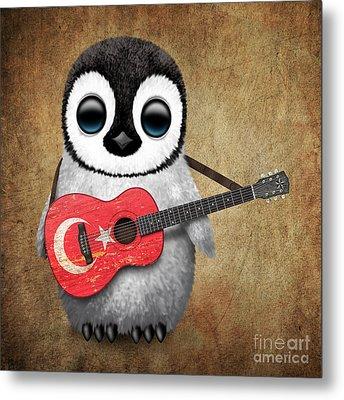 Baby Penguin Playing Turkish Flag Guitar Metal Print