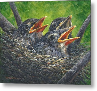 Metal Print featuring the painting Baby Robins by Kim Lockman
