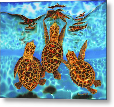 Baby Sea Turtles Metal Print by Daniel Jean-Baptiste