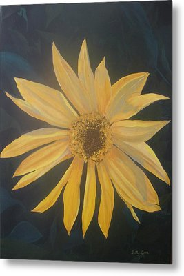 Metal Print featuring the painting Baby Sunflower by Betty-Anne McDonald