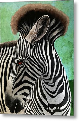 Metal Print featuring the painting Baby Zebra by Linda Apple