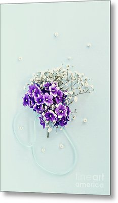 Metal Print featuring the photograph Baby's Breath And Violets Bouquet by Stephanie Frey
