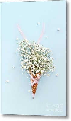 Metal Print featuring the photograph Baby's Breath Ice Cream Cone by Stephanie Frey