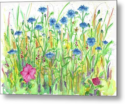 Metal Print featuring the painting Bachelor Button Meadow by Cathie Richardson