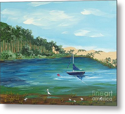 Metal Print featuring the painting Back Bay From Back Bay Inn Los Osos Ca by Katherine Young-Beck