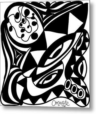Back In Black And White 1 Modern Art By Omashte Metal Print by Omaste Witkowski