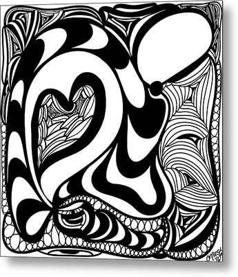 Back In Black And White 10 Modern Art By Omashte Metal Print by Omaste Witkowski