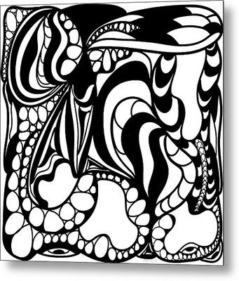 Back In Black And White 12 Modern Art By Omashte Metal Print by Omaste Witkowski