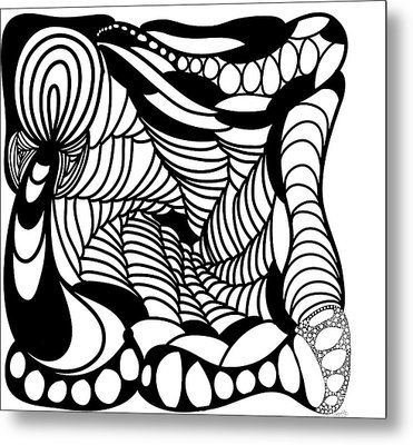 Back In Black And White 14 Modern Art By Omashte Metal Print by Omaste Witkowski