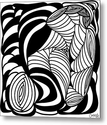 Back In Black And White 15 Modern Art By Omashte Metal Print by Omaste Witkowski