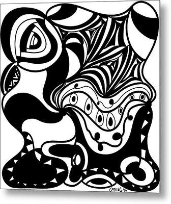 Back In Black And White 2 Modern Art By Omashte Metal Print by Omaste Witkowski