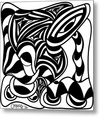 Back In Black And White 4 Modern Art By Omashte Metal Print by Omaste Witkowski